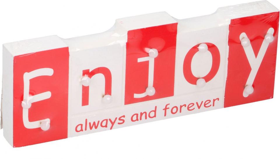 Arti Casa tekstbord met LED Enjoy 30x11x2,7 cm hout wit-rood