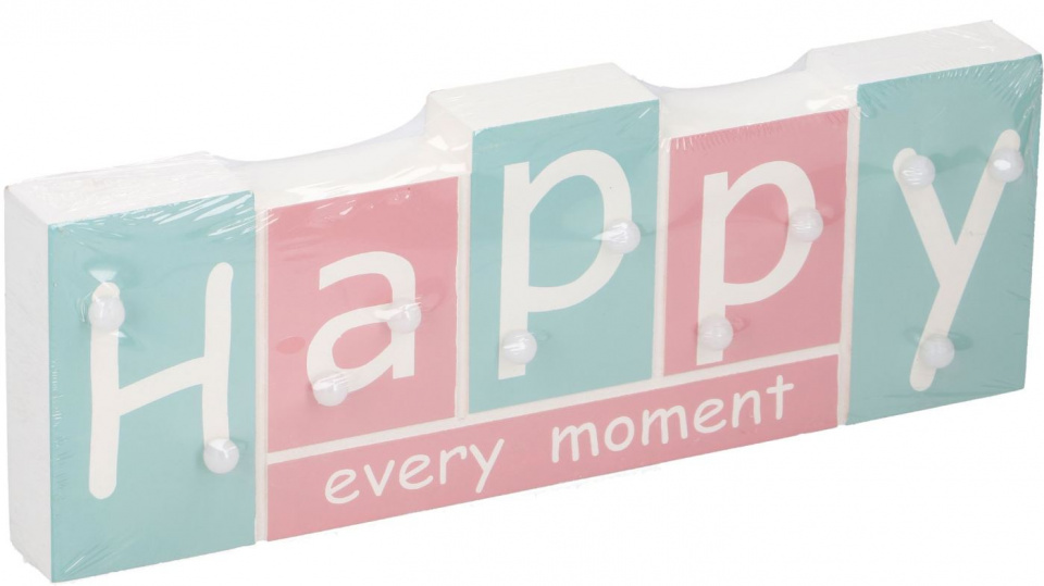 Arti Casa tekstbord met LED Happy 30x11x2,7 cm hout blauw- roze
