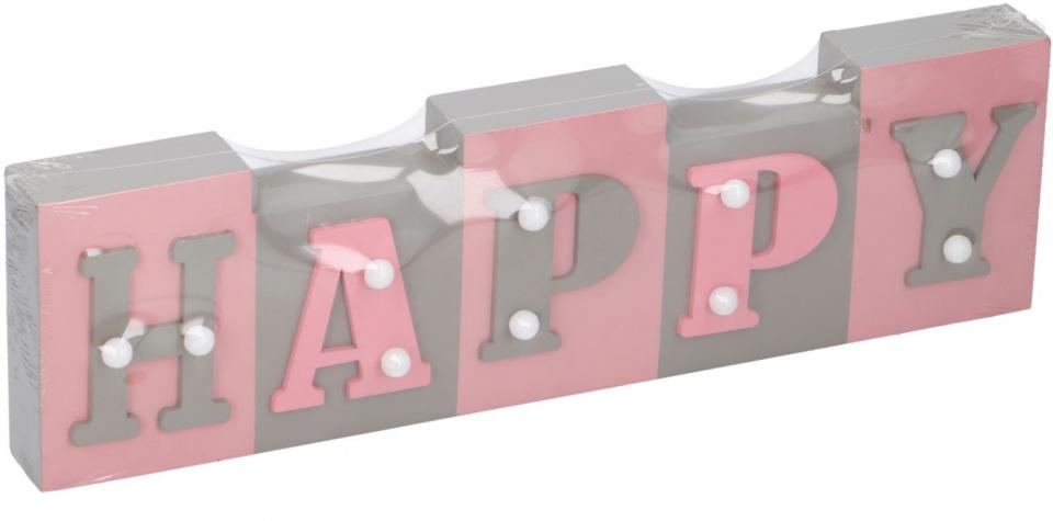Arti Casa tekstbord met LED Happy 34x9x3,5 cm hout grijs-roze