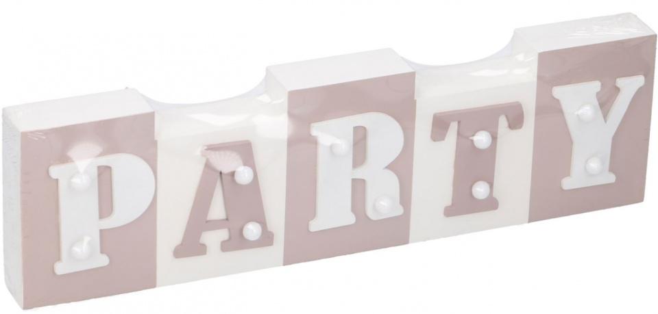 Arti Casa tekstbord met LED Party 34x9x3,5 cm hout wit-lichtroze