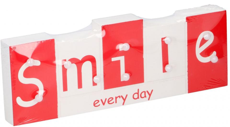 Arti Casa tekstbord met LED Smile 30x11x2,7 cm hout wit-rood