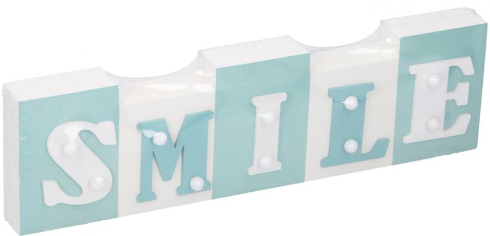 Arti Casa tekstbord met LED Smile 34x9x3,5 cm hout wit-turquoise