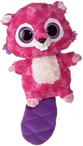 Aurora knuffelbever 20 cm roze/paars