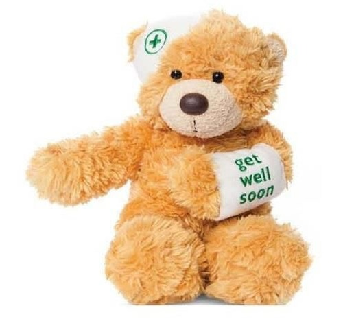 Aurora knuffelbeer Bonnie get well soon lichtbruin 23 cm