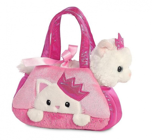 Aurora knuffelkat in tasje Prinses Kitty 20,5 cm wit/roze