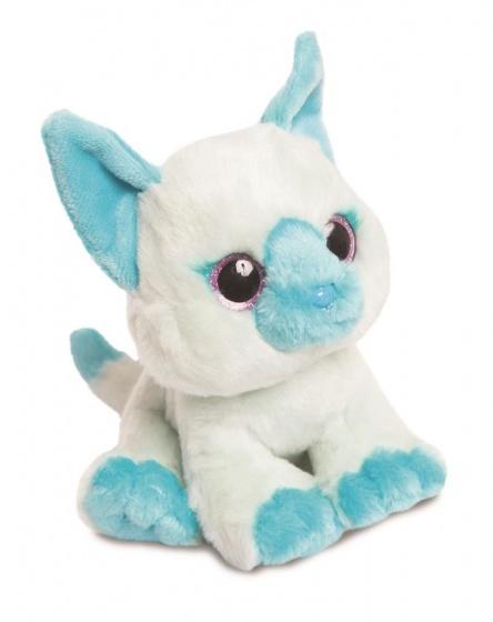 Aurora pluchen knuffelkat 18 cm wit/blauw