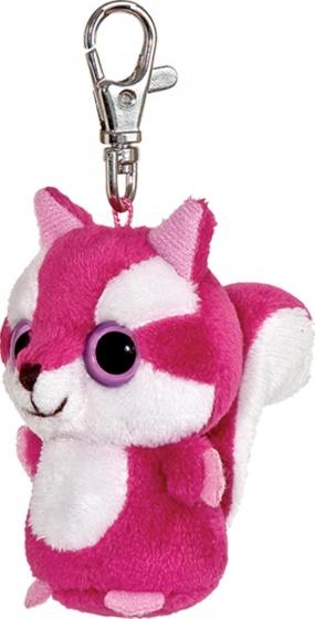 Aurora pluchen sleutelhanger eekhoorn 7,5 cm roze