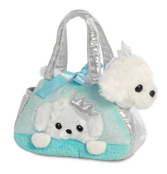 Aurora tas met knuffelpuppy prinses blauw 20,5 cm