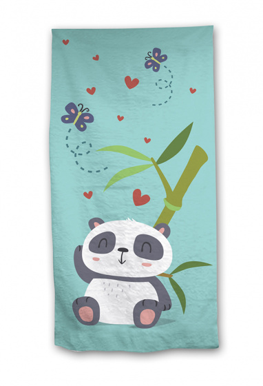 Aymax strandlaken panda 70 x 140 cm katoen blauw