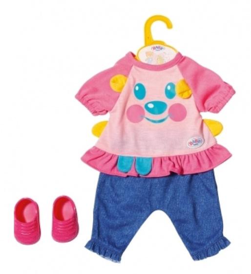 BABY born kledingset Trendy meisjes 36 cm roze-blauw 4 delig