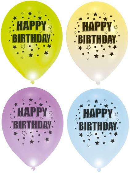 Balloominate ballonnen met led verlichting Happy B'day 28 cm 5 stuks