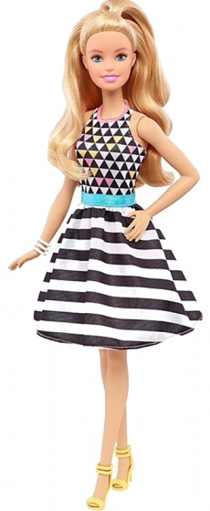Barbie Fashionistas: tienerpop gestreepte jurk 33 cm