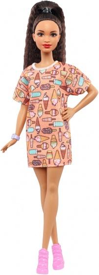 Barbie Fashionistas: tienerpop jurk met ijsjes 33 cm