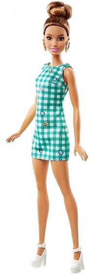 Barbie Fashionistas: tienerpop jurk met ruitjes 33 cm
