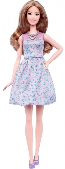 Barbie Fashionistas: tienerpop jurk paars 33 cm