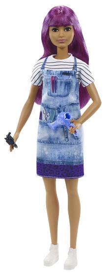 Barbie haarstyliste pop met paars haar en accessoires 5 delig