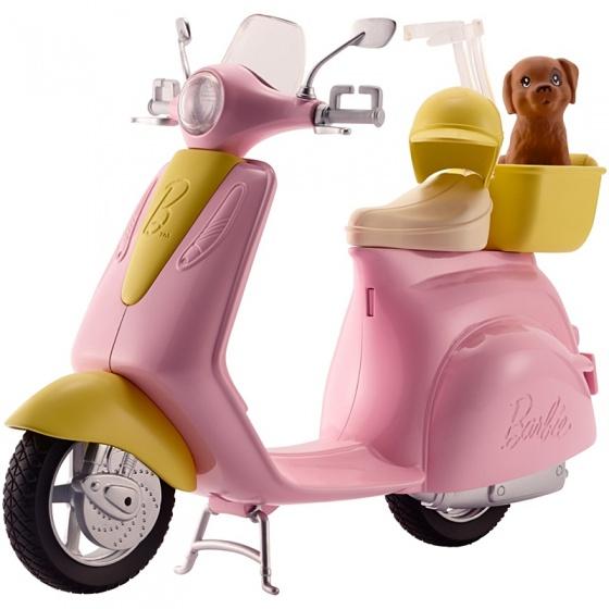 Barbie scooter met puppy roze 23 cm