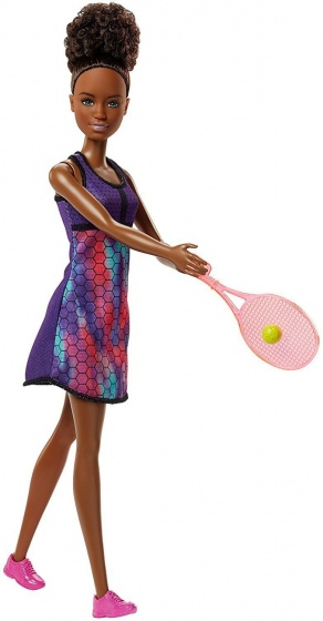 Barbie tennisspeelster met racket 28 cm paars