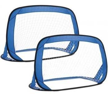 Baseline Pop Up voetbalgoals 80 x 120 x 80 cm blauw 2 stuks