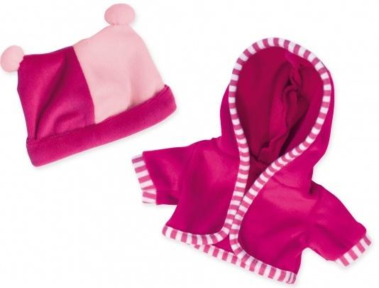 Bayer vest met muts babypop 30 cm roze