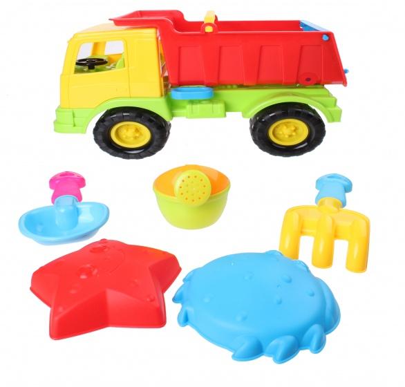 Beach Toy strandset kiepwagen 6 delig geel