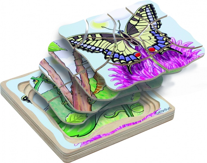 beleduc lagenpuzzel vlinder 28 stukjes