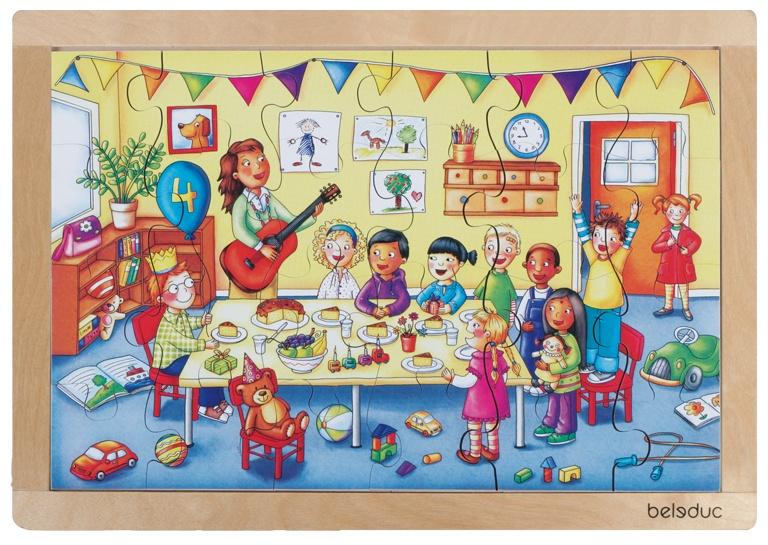 beleduc legpuzzel verjaardagsfeestje 24 stukjes 41 cm