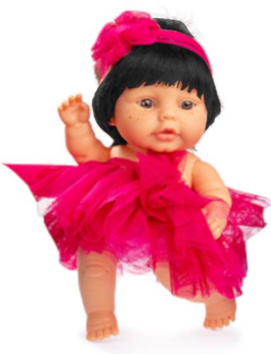 Berjuan babypop 22 cm meisjes vinyl-textiel zwart-rood