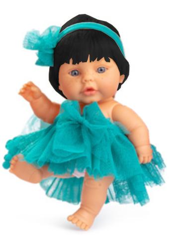 Berjuan babypop 22 cm meisjes vinyl-textiel zwart-turquoise