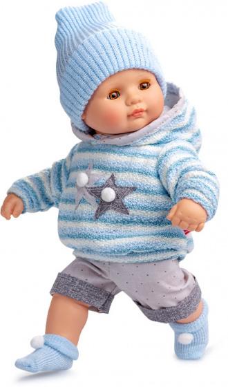 Berjuan babypop 34 cm vinyl-textiel blauw-grijs 5 delig