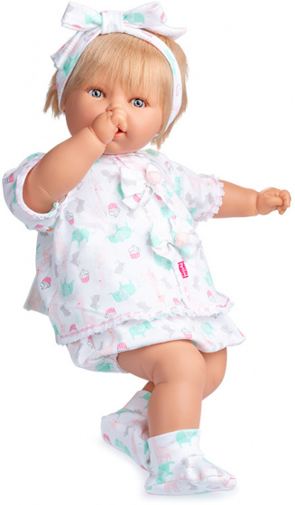 Berjuan babypop 60 cm meisjes vinyl-textiel wit