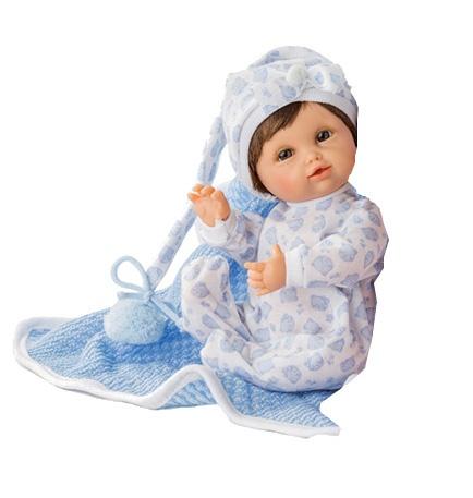 Berjuan babypop in deken blauw 25 cm