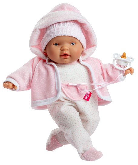 Berjuan babypop Lloroncete meisjes 28 cm wit-lichtroze