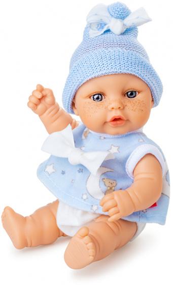 Berjuan babypop Mini Baby 20 cm meisjes blauw-wit