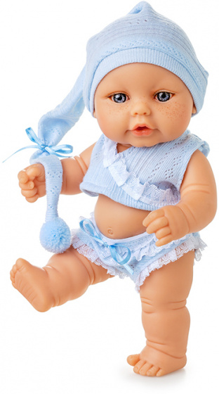 Berjuan babypop Mini Baby 20 cm meisjes lichtblauw