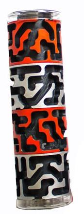 Bertikal Bertikal doolhofpuzzel cilindervorm rood/zilver