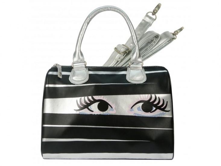 BFF Got my Eye on you Schoudertas zilver/zwart 10 liter