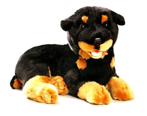 BIColini Knuffelhond Liggende Rottweiler Zwart/Bruin 35 cm