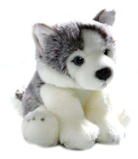 BIColini Knuffelhond Zittende Husky Pup Grijs/Wit 22 cm