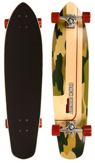 Black Dragon Kicktail Longboard Comback Kick 36 Inch Camo