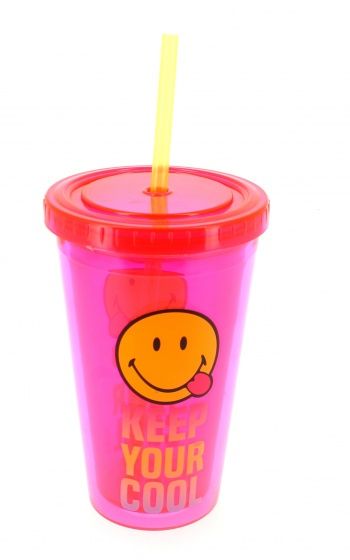 Blueprint Collections drinkbeker met rietje Smiley 500 ml roze/geel kopen
