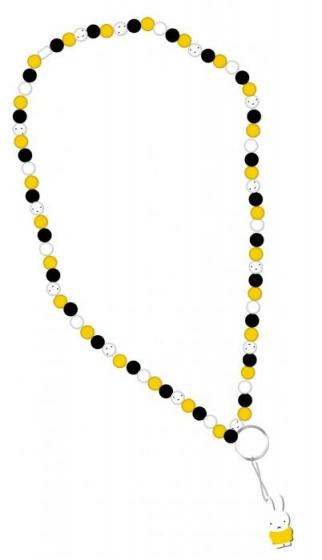 Blueprint Collections Nijntje ketting met sleutelring geel-zwart