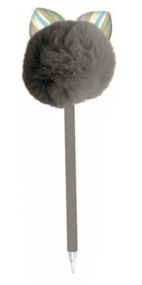 Blueprint Collections pompon pen met oren grijs 24 cm