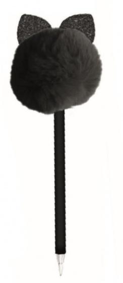 Blueprint Collections pompon pen met oren zwart 24 cm
