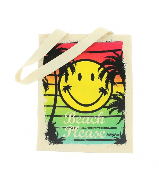 Blueprint Collections shopper Smiley 33x15 cm wit kopen