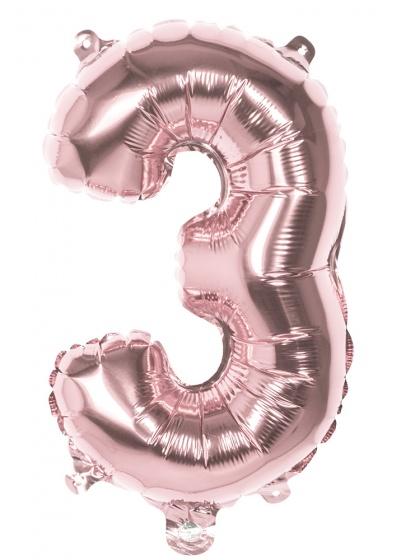 Boland ballon cijfer 3 rose goud 36 cm