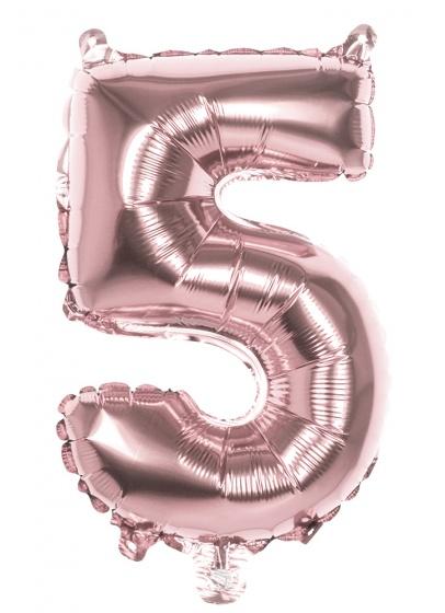 Boland ballon cijfer 5 rose goud 36 cm