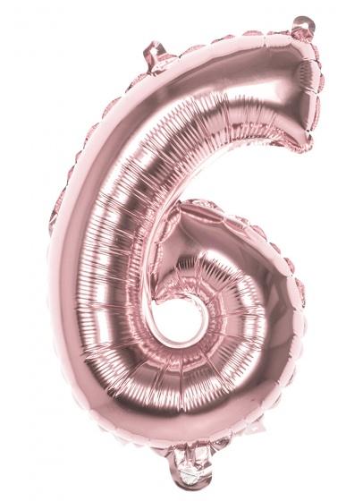 Boland ballon cijfer 6 rose goud 36 cm