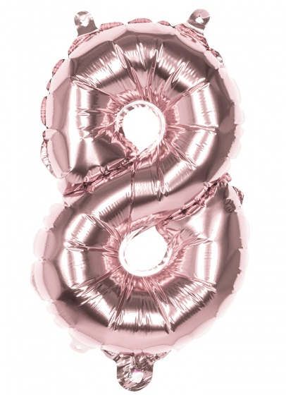 Boland ballon cijfer 8 rose goud 36 cm