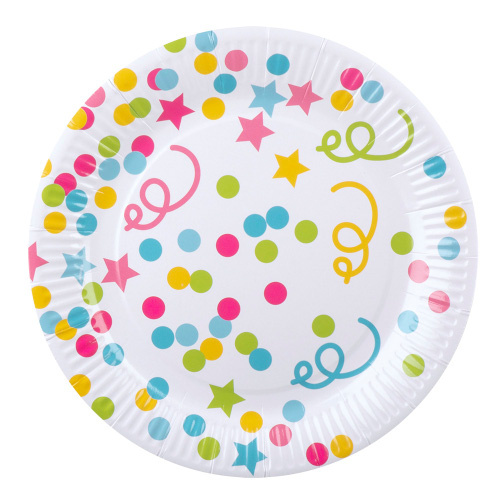 Boland bordjes confetti 23 cm papier 6 stuks